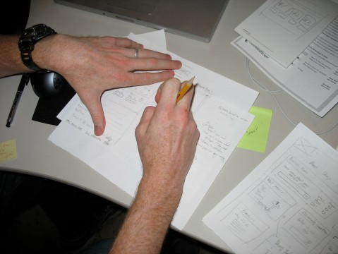 photo of our interface sketches for a recent pitch